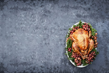 Overhead Shot of Delicious Roasted Thanksgiving Turkey over a dark industrial background.