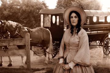 western colonial woman and amish carriage