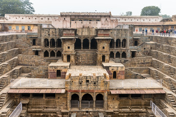 Part of the Chand Baori, a stepwell in the village of Abhaneri near Jaipur, state of Rajasthan. Chand Baori was built by King Chanda of the Nikumbha Dynasty