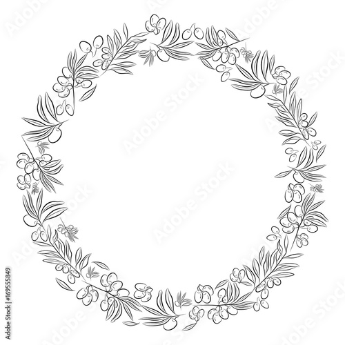 Round Frame Olive Tree As A Symbol Of Eternal Peace In Christian