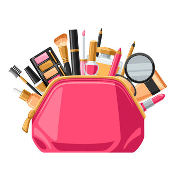 Cosmetics for skincare and makeup in bag. Background for catalog or advertising
