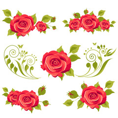vintage red roses, swirls, isolated on a white