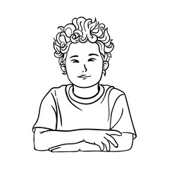 Contour picture of a boy, schoolboy with curly hair in a T-shirt