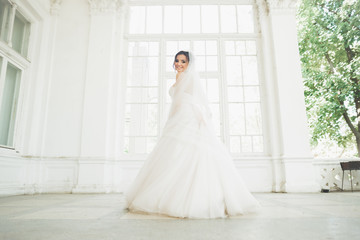 Beautiful bride in wedding dress with long full skirt, white background, dance and smile