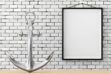 Nautical Anchor in front of Brick Wall with Blank Frame. 3d Rendering