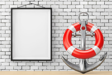 Nautical Anchor with Lifebuoy in front of Brick Wall with Blank Frame. 3d Rendering