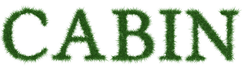 Cabin - 3D rendering fresh Grass letters isolated on whhite background.