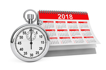 2018 year calendar with stopwatch. 3d Rendering