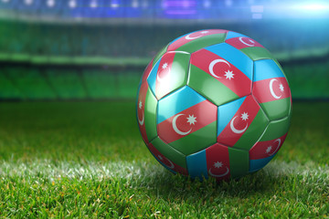 Azerbaijan Soccer Ball on Stadium Green Grasses at Night