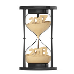 New 2018 Year Concept. Sand Falling in Hourglass Taking the Shape from 2017 to 2018. 3d Rendering
