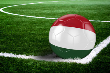 Hungary Soccer Ball on Field at Night