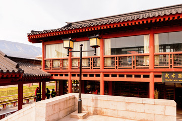 Visitor center at the Shaolin Monastery (Shaolin Temple), a Zen Buddhist temple. UNESCO World Heritage site