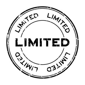 Grunge black limited round rubber seal stamp on white background