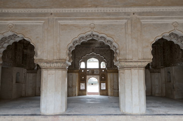 Interior of palace in Orchha, India