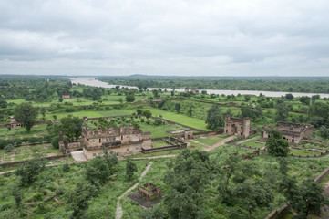 Countryside and old palace in Orchha, India
