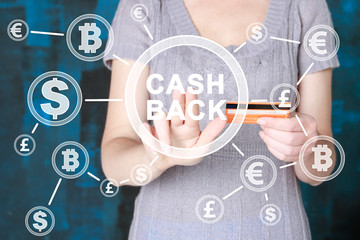 CASH BACK Business currency concept.