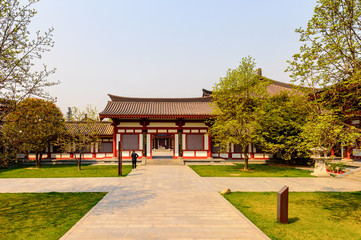 One of the pavilions of the Giant Wild Goose Pagoda complex, a Buddhist pagoda Xi'an, Shaanxi province, China. It was built in 652 during the Tang dynasty. UNESCO world heritage