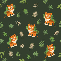 Seamless pattern with a tiger cub on a dark background