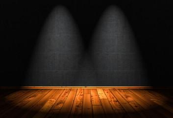 3D Illustration - wood floor background with 2 Spotlights