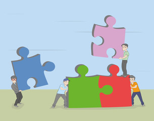little people collect construction of a puzzle. Business team solution in partnership concept. vector illustration.