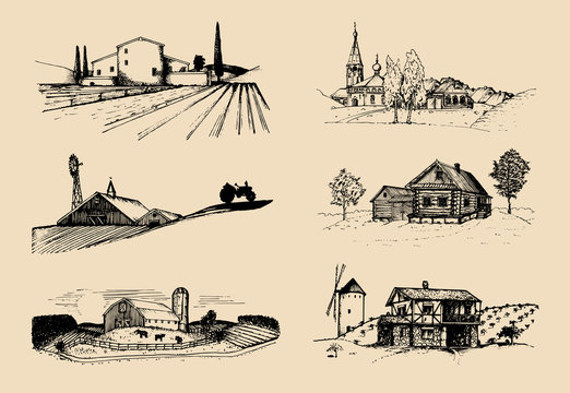 Vector farm landscapes illustrations set. Sketches of villa, homestead in fields and hills. Russian countryside.