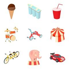Autotravel icons set, cartoon style