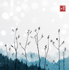 Young tree branches and blue mountains in fog on white glowing background. Traditional oriental ink painting sumi-e, u-sin, go-hua. Hieroglyph - well-being