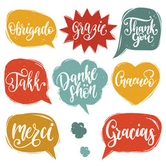 Vector calligraphic set of different languages translation of Thank You. Lettering of international thankfulness word.