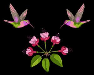 Fuchsia and hummingbirds embroidery