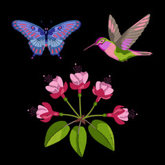 Fuchsia, hummingbird and butterfly embroidery set