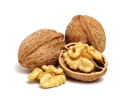 cracked walnut on white