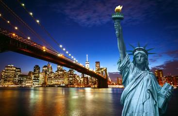 New york city skyline with Liberty Statue