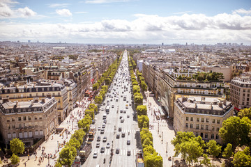 Aerial cityscape view on the Elysian fields avenue during the sunny day in Paris