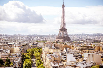 Aerial cityscape view on the Eiffel tower during the sunny day in Paris