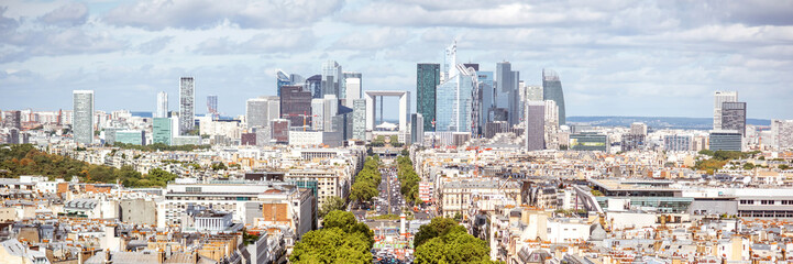 Aerial panoramic cityscape view on the business district with skyscrapers during the sunny day in Paris