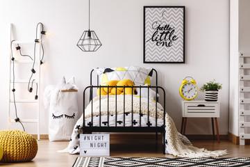 Kids bedroom with retro clock