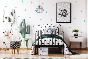 Kids bedroom with cute wallpaper