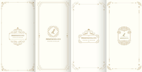 Collection of design elements,labels,icon,frames, for packaging,design of luxury products.Made with golden foil.Isolated on retro background. vector illustration