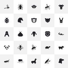 Set Of 25 Animal Icons Set.Collection Of Housefly, Diver, Ape And Other Elements.