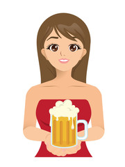 Vector of Beautiful lady serve beer