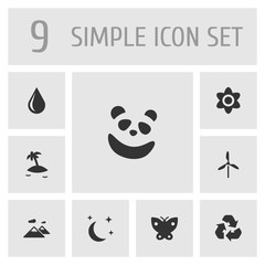 Set Of 9 Natural Icons Set.Collection Of Isle Beach, Midnight, Blob And Other Elements.