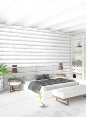 White bedroom minimal style Interior design with wood wall. 3D Rendering. 3D illustration