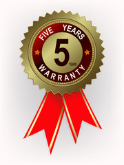 emblem of golden color with red ribbons and text for five years of warranty