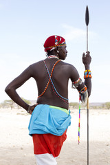 Samburu tribesman in traditional costume. Kenya, Africa.