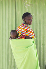 Mother and child from Samburu tribe. Kenya, Africa