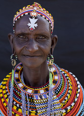 Portrait of senior lady from Samburu tribe. Kenya, Africa.