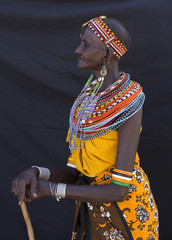 Portrait of senior woman from Samburu tribe. Kenya, Africa.