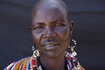 Portrait of woman from the Samburu tribe. Kenya, Africa.