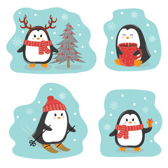 Set of cute penguins. Merry Christmas and Happy New Year greetings. Vector winter illustration.