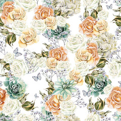 Bright watercolor seamless pattern with flowers roses, succulents and  wildflowers. Illustration
